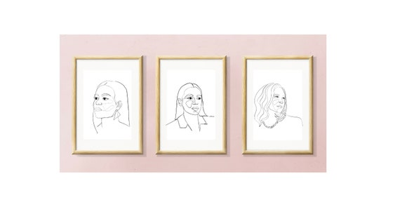 past, present, future, Strong democrat women, Kamala Harris, Alexandria Ocasio-Cortez, Michelle Obama, printable, triptych, art