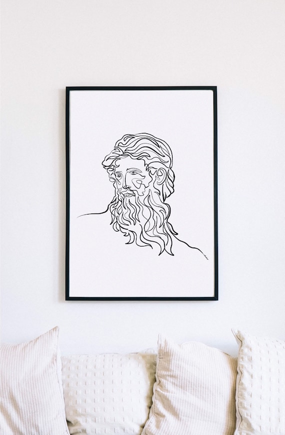 Uranus, sculpture, decor, Printable One Line Drawing, masculine Greek, Minimalist Artwork, Greek god, Modern Wall Art, renaissance,