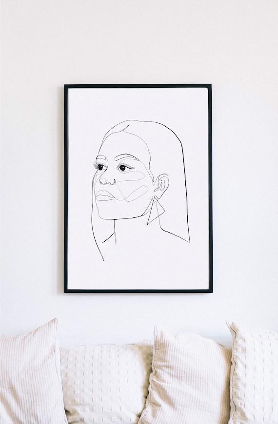 Michelle, Michelle Obama, Printable One Line Drawing, Feminine, Minimalist Artwork, Face Line Art, Feminist Wall Art, Decor
