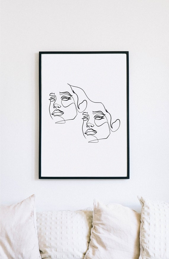 Conjoined, Female Face Print, One Line mask, Feminine Continuous Lines, Minimalist Artwork, Face Line Art, Modern Wall Art, Decor