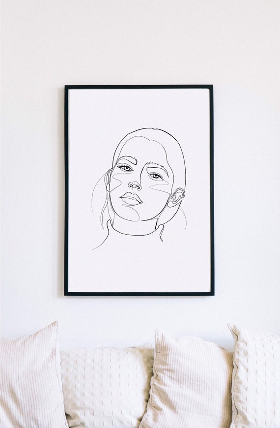 one line drawing, one line face, feminine minimalist portrait, one line hair drawing, printable one line decor, full face