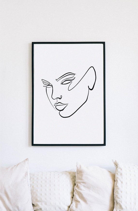 Reinvent, Female Face Print, One Line mask, Feminine Continuous Lines, Minimalist Artwork, Face Line Art, Modern Wall Art, Decor