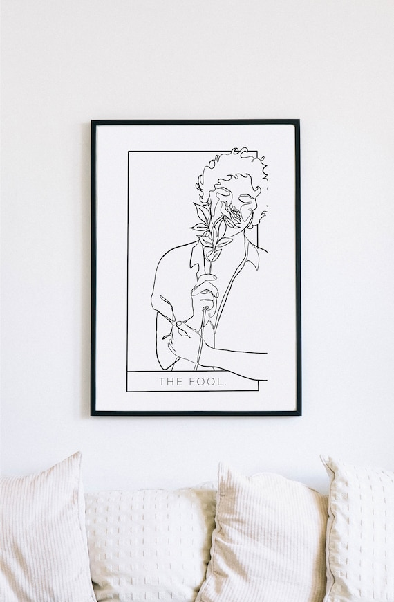 The Fool, Tarot Cards, Printable One Line Drawing, Masculine Continuous Lines, Minimalist Artwork, Face Line Art, Modern Wall Art, Decor