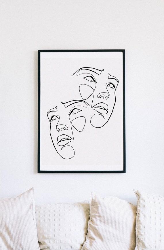 Double portrait, Female Face Print, One Line mask, Feminine Continuous Lines, Minimalist Artwork, Face Line Art, Modern Wall Art, Décor