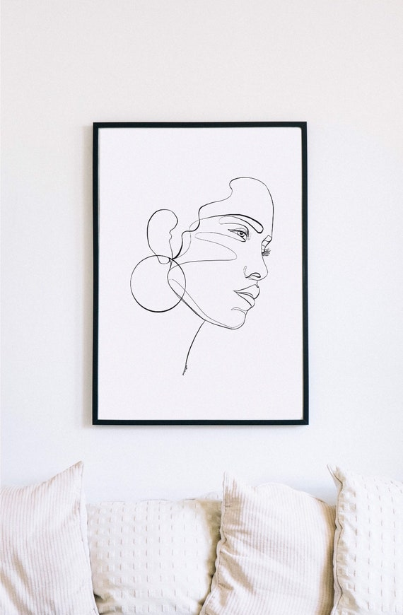Latina Face Print, Printable One Line Drawing, Continuous Lines, Minimalist Artwork, Face Line Art, Modern Wall Art, Decor, Abstract