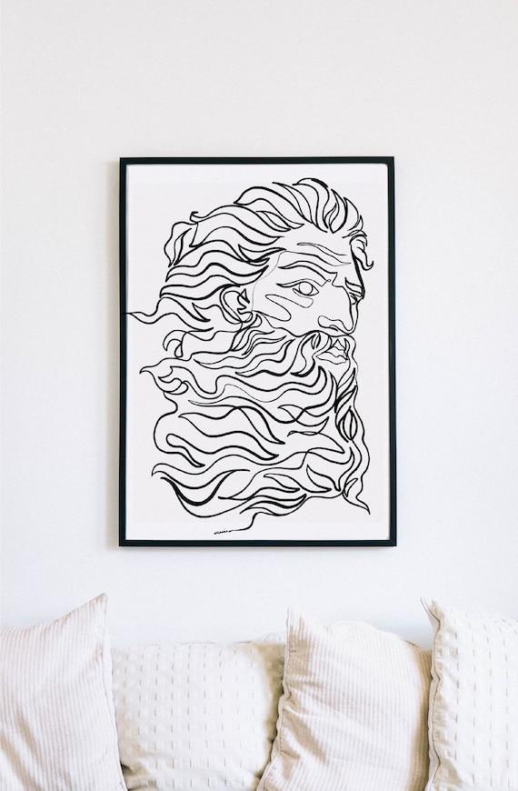 Zeus, God of thunder, sculpture, Printable One Line Drawing, masculine Greek, Minimalist Artwork, Greek god, Modern Wall Art, renaissance,