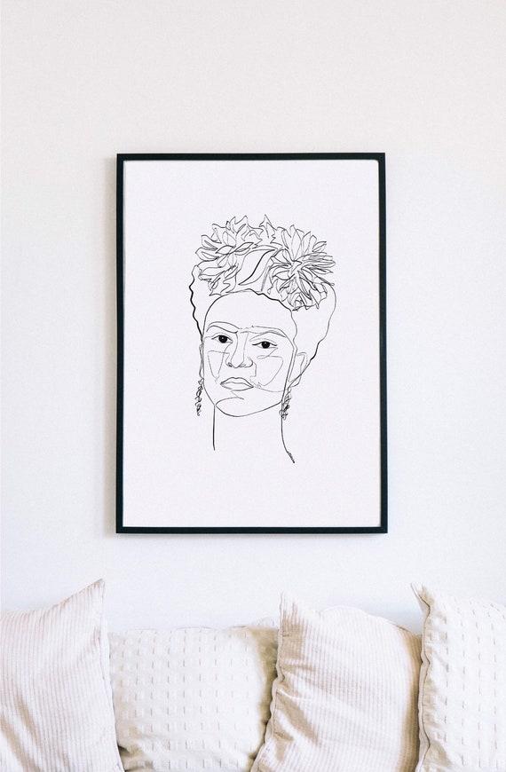 Frida, Frida Kahlo, Printable One Line Drawing, Feminine, Minimalist Artwork, Face Line Art, Feminist Wall Art, Decor