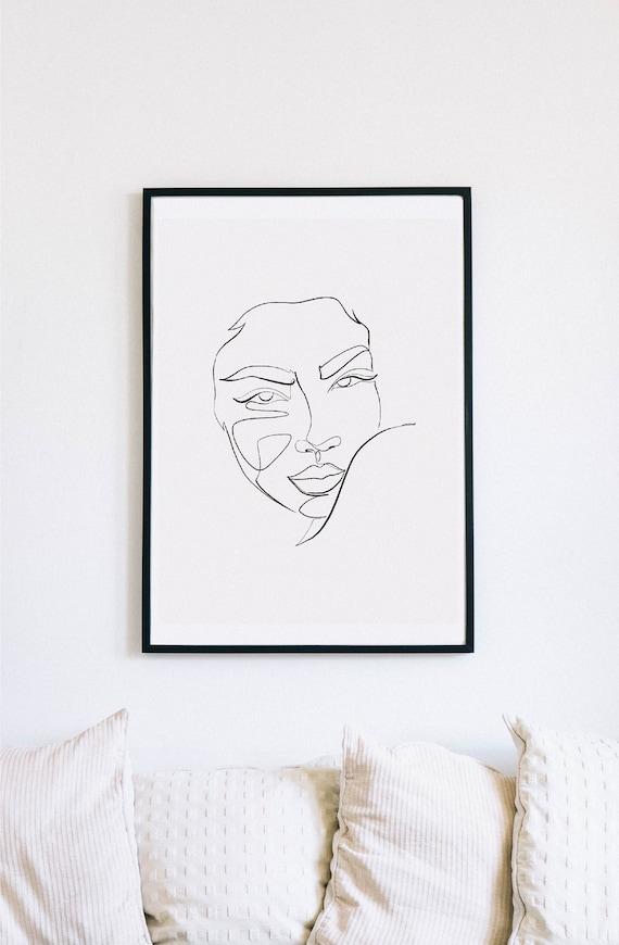 Shoulder, Female Faces Print, Printable One Line Drawing, Gemini, twins, twin art, Gemini wall art, minimalist, printable minimalism, woman