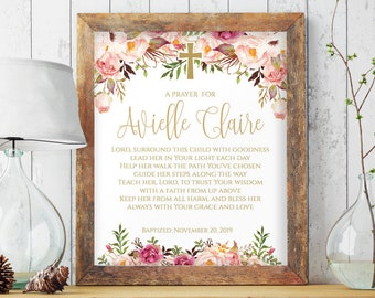 Printable Baptism Gift, Personalized Baptism Gifts for Girls, Gift from Godmother, Gift for Goddaughter, Girl Baptism Gift Baptism Sign 8000