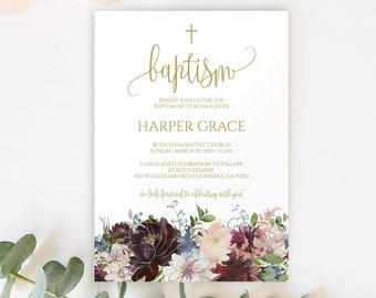 8066 Template | Baptism Invitation Girl Floral Baptism Invitation Template Etsy