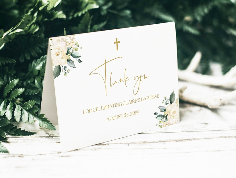 Baptism Thank You Card Thank You Card Template Christening ...