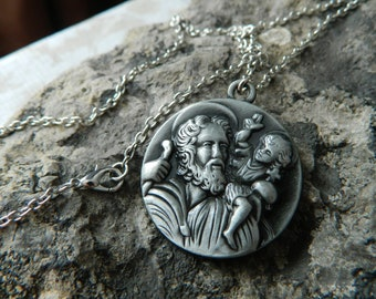 Argent Sterling 0.925 Saint Anthony ronde Médaille Collier Pendentif Charme