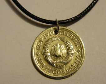 1974 Yugosalvia Coin Pendant and Chain Necklace State Emblem Coin Necklace