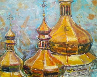 """Original oil painting on canvas """"Church domes"""""""