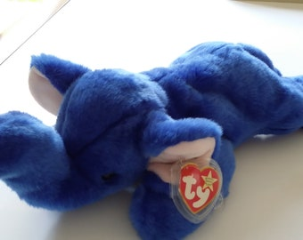 359e656f4b3 Beanie baby peanut in blue very rare 1998 with tags and in mint condition