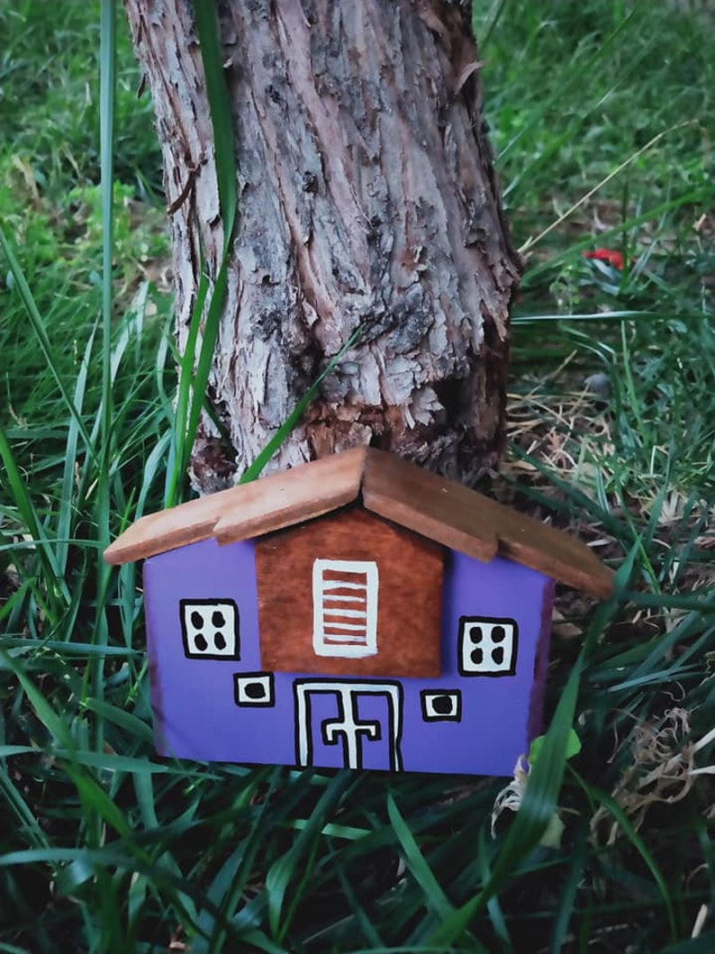 Wooden village Gift for kids Little Rustic Wooden house wood Cottage  Christmas Home Decoration Birthday Gift Drift wooden houses