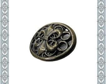 Conchos 6 Ornamental Rivets WAPPEN FLEUR De LIS Altbronze Heraldry Rivet Merowinger Lily Ornamental Fitting Antique Larp Fitting medieval Rivet
