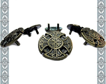 Conchos 6 ornamental rivets MEROWINGER CROSS Altbronze Germanen rivet cross and French lily fitting history rivets medieval Rivet