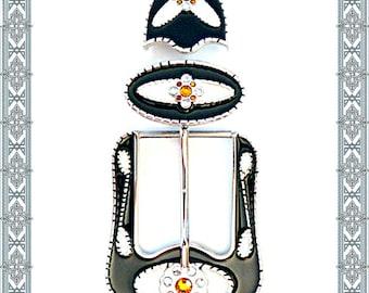 Buckle Set FLORALIUM Silver Optics + Lacquer Black / White + Rhinestone Buckle Belt Loop Runner Keeper Belt Lace Belt Buckle Belt Belt Belt Belt Belt Belt Belt Belt Belt Belt Belt