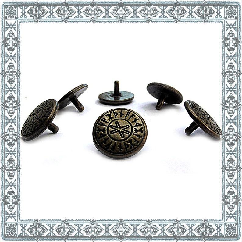 Norse Fitting Viking Rivets Medieval Rivet Armory LARP Necks 12 Ornamental Rivets ODINS PROTECTION Old Brass Rivet Runes Conchos