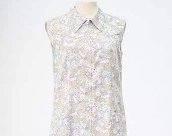 70's vintage handmade floral print long dress