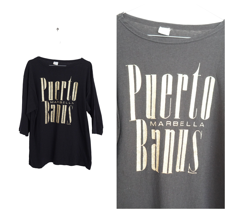 80s Tops, Shirts, T-shirts, Blouse   90s T-shirts 1980s Black Souvenir T-Shirt Puerto Banus MarbellaSize Xl $25.28 AT vintagedancer.com