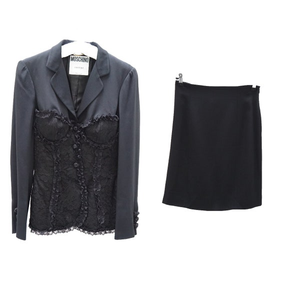 Moschino corset blazer skirt suit / Early 1990's /