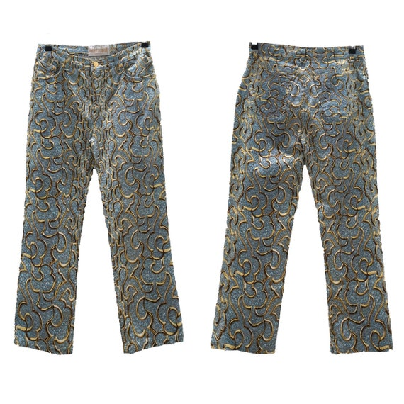 Roberto Cavalli Y2K blue and gold printed jeans /