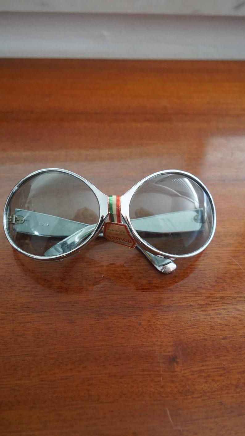 70's silver Samco oversize sunglasses