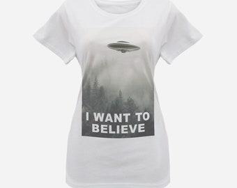 12b2cbba9 Women's X-Files 'I Want To Believe' T-Shirt