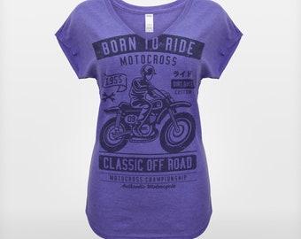 Women's 'Born To Ride' Biker Enthusiast T-Shirt
