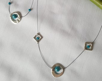 Fancy turquoise and silver bracelet and necklace