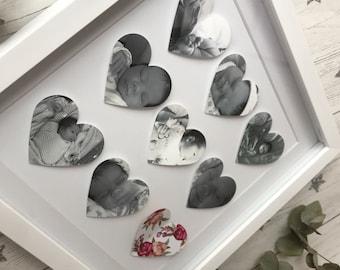 Personalised wedding/ anniversary/ birthday/ baby gift. Bespoke 9 heart frame