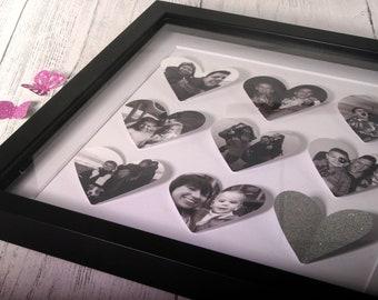 Personalised wedding/ anniversary/ birthday/ baby gift, bespoke 9 heart frame