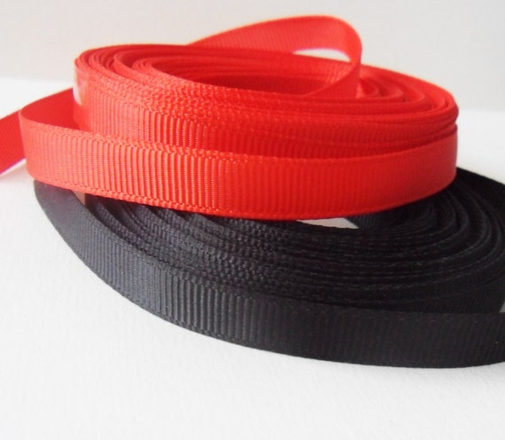 free postage 5mm Red Grosgrain in 5m or 10m cut lengths