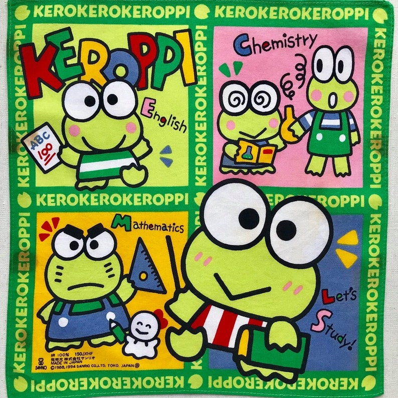 Vintage Kero Kero Keroppi no Daibouken Free Shipping Cartoon Handkerchief  Made in Japan