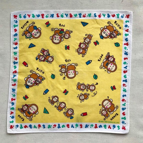 Vintage Monchhichi monkey handkerchief Free Shipping 1994 Sanrio monchhichi monkey Made in Japan no.55