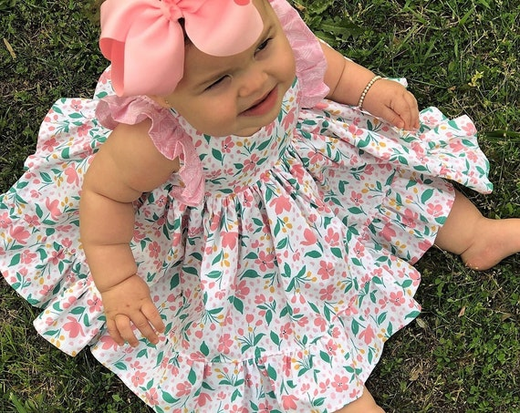 Baby Girl Floral Dress and Bloomer Set / Baby Girl Dress / Baby Shower Gift