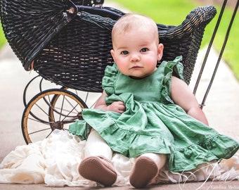 Baby Girl Cotton Dress in Green / Flower Girl Dress