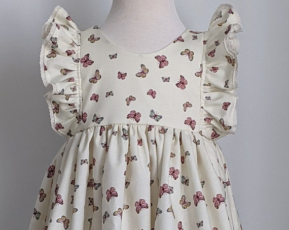 Girls' Dress in Ivory with Butterfly's