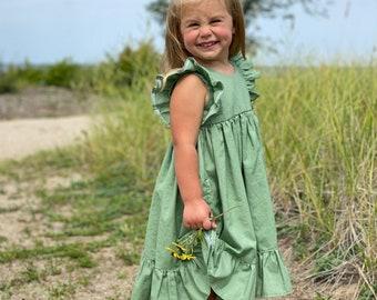 Girls' Cotton Dress in Green / Flower Girl Dress