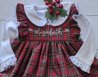 Baby Girl Cotton Dress in Holiday Plaid