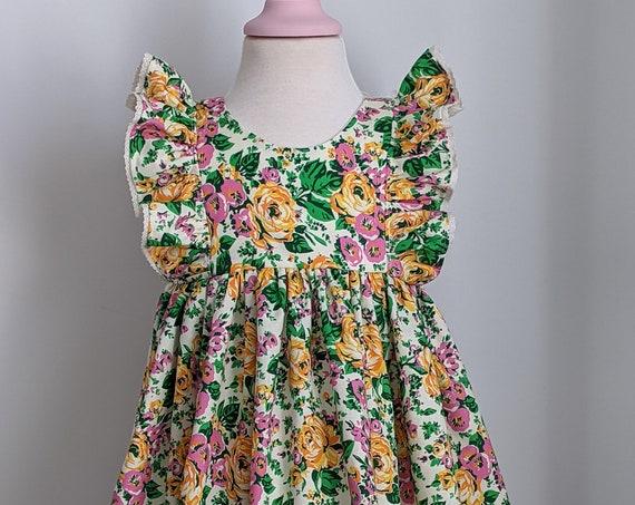 Girls' Dress in Flower Farm Floral