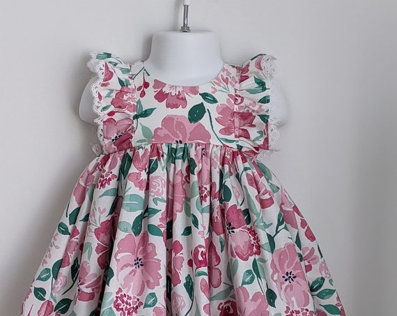 Baby Girl Floral Pink Dress and Bloomer