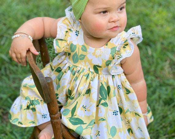 Baby Girl Cotton Dress Set in Floral Yellow / Flower Girl Dress