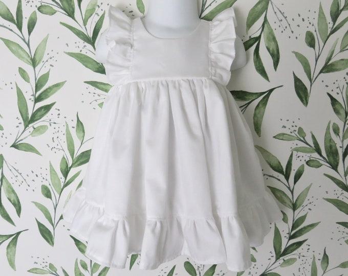 Baby Girl Cotton Dress in White / Flower Girl Dress
