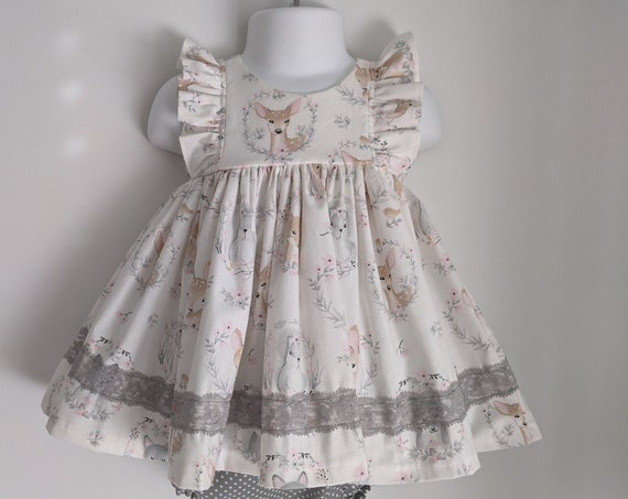 Baby Girl Dress and Bloomer Set in Sweet Animal Print