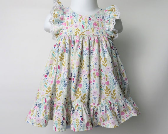 Baby Girl Cotton Dress Set in Meadow Flowers