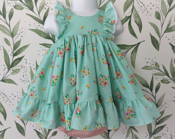 Baby Girl Dress and Bloomer Set in Spring Flowers