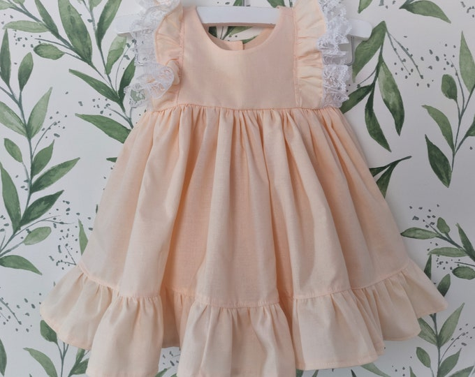Baby Girl Cotton Dress in Peach with Lace